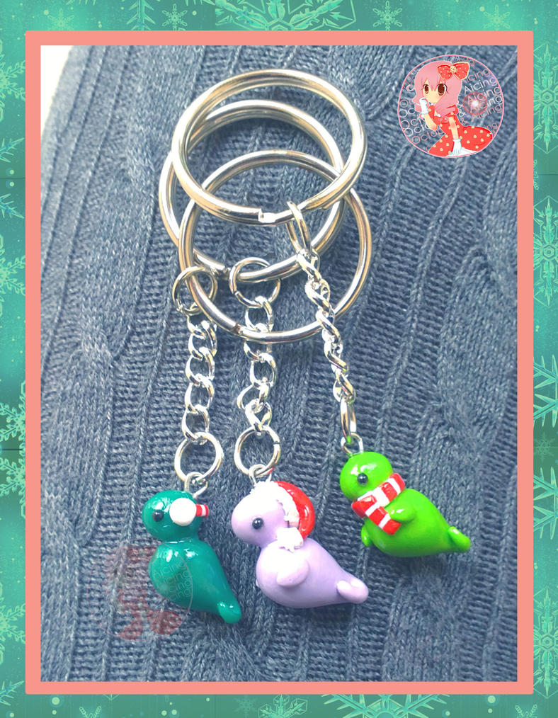 Holiday Dino Keychains by Octopop-n-Aicing