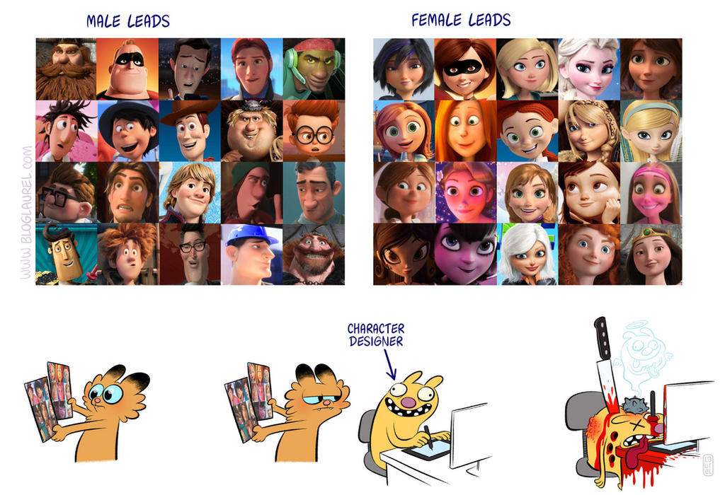 The difference between male and female characters. by bloglaurel