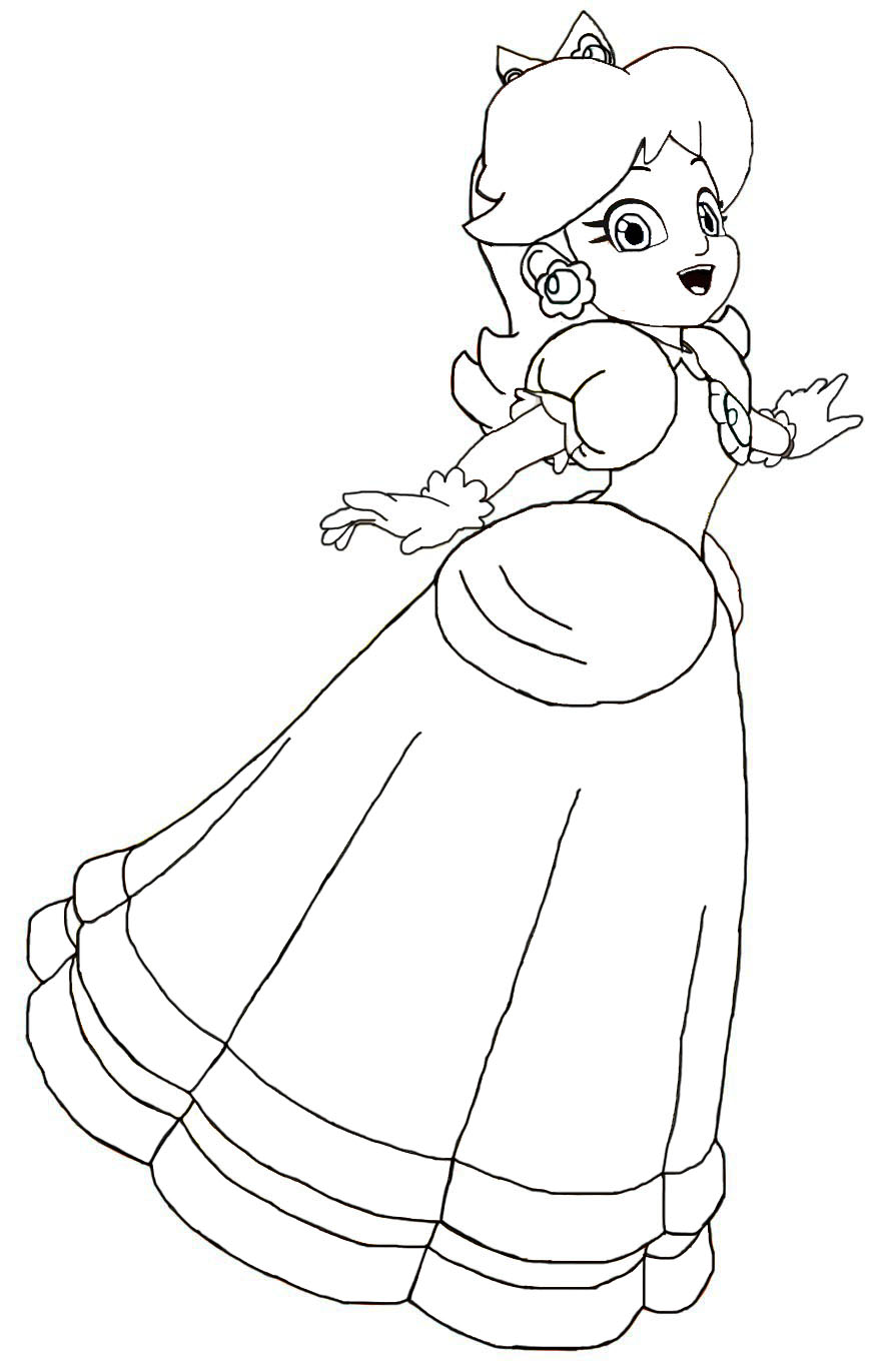 Rosalina Mario Coloring Pages. lineart daisy by hero of awesome on deviantart Paper Princess Daisy Coloring Pages  super paper mario coloring