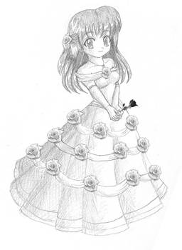 Blue Rose Gown: Sketch