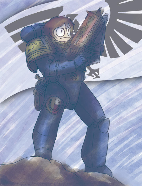 Space Marine Doodle by Hero-of-Awesome