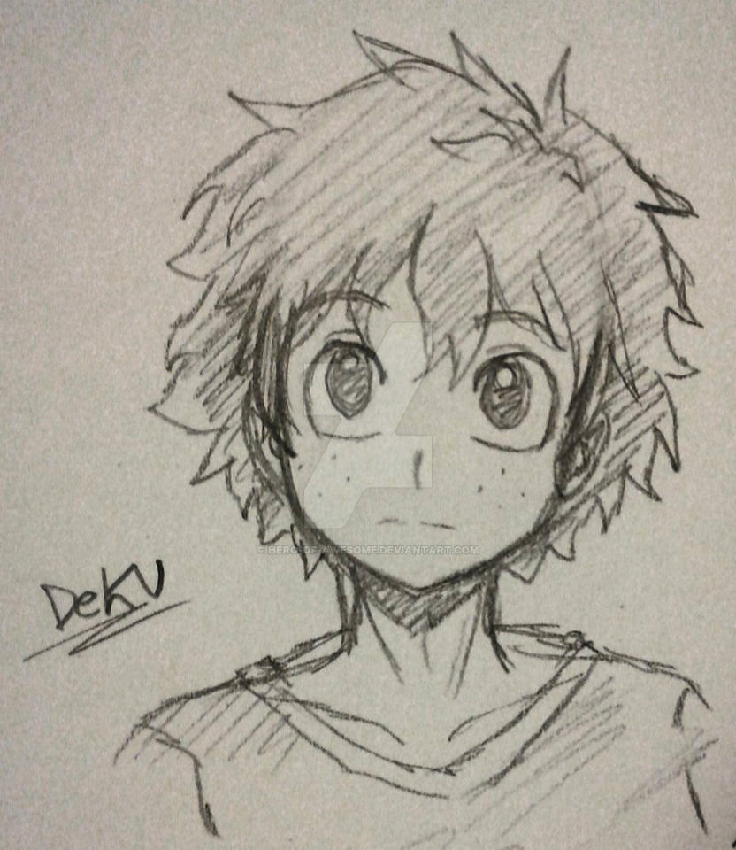 Deku pencil sketch by hero of awesome