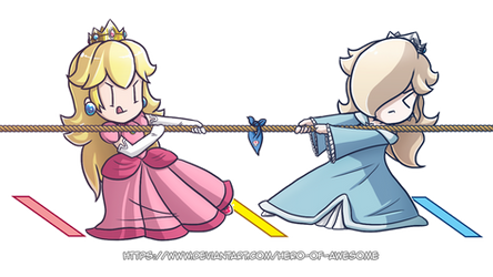 Commission: Peach and Rosalina Tug-Of-War