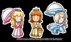Commission: Peach, Daisy, and Rosalina Parasols