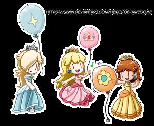 Commission: Nintendo Princess Balloons
