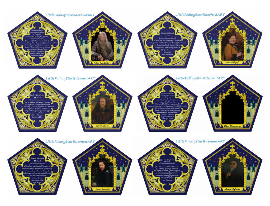Revered image inside harry potter chocolate frog cards printable
