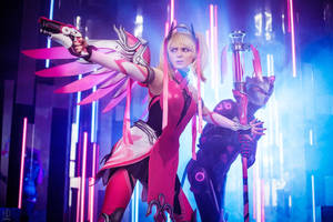 Mercy Genji Overwatch Pink Cosplay BLIZZARD