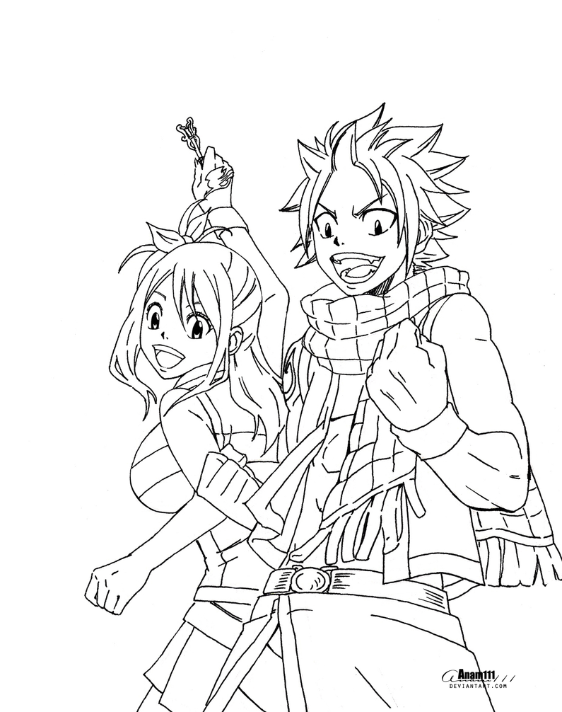 Natsu and lucy no coloring by anam111 on deviantart for Fairy tail coloring pages anime