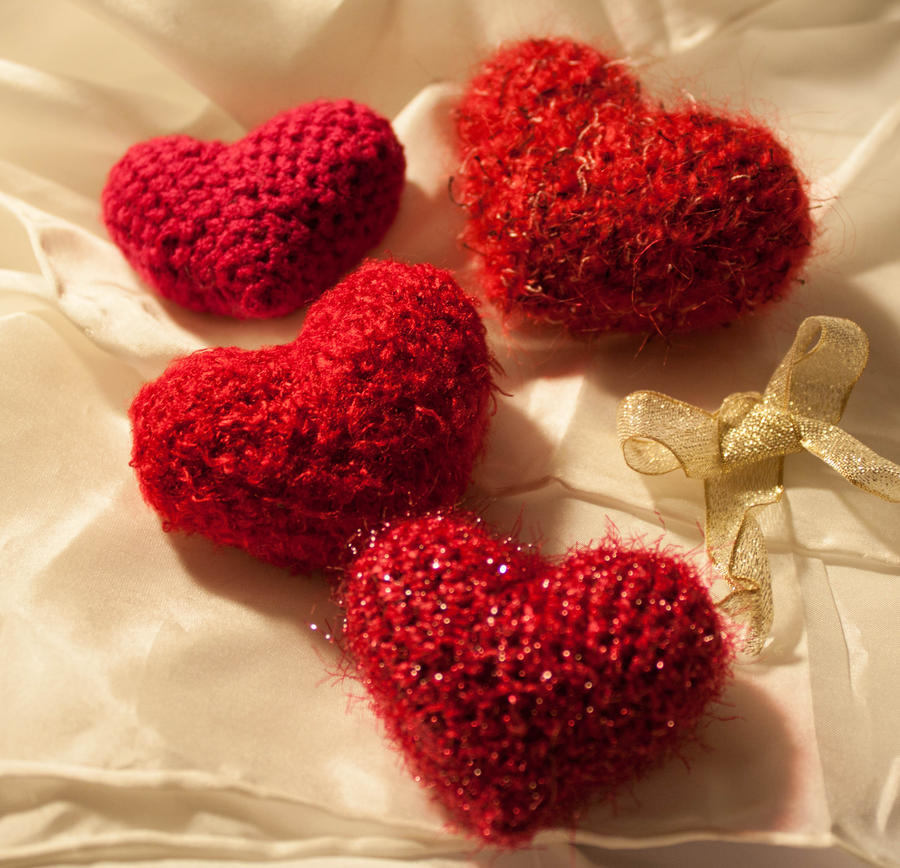 Set of Crocheted Love Hearts by esther-rose-mouse
