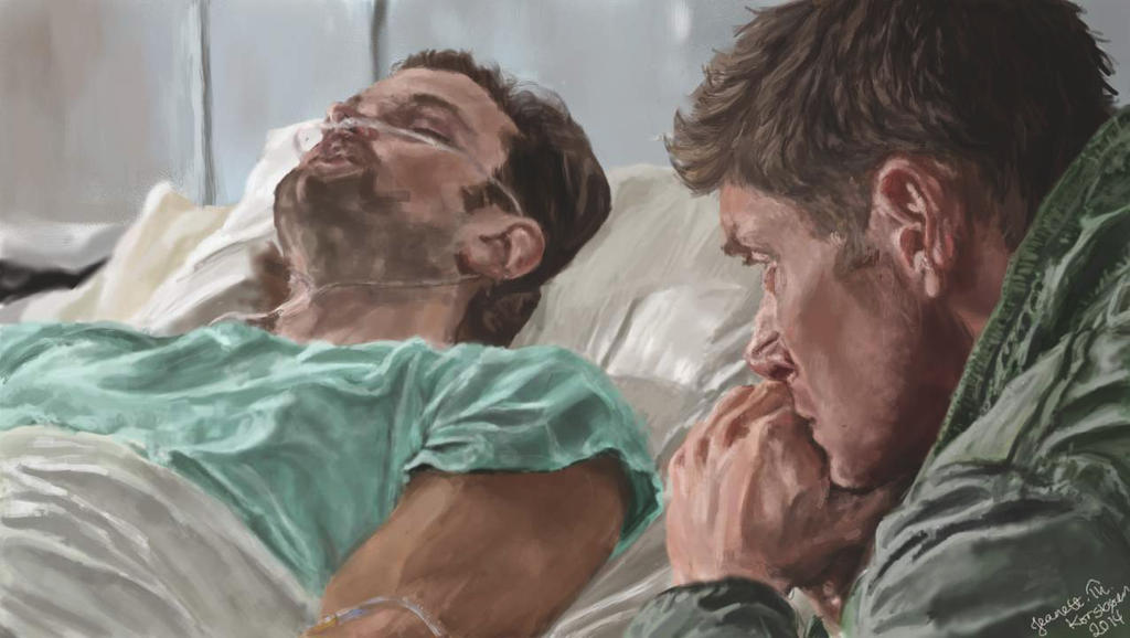 Dean watching over Sam by jeanettk