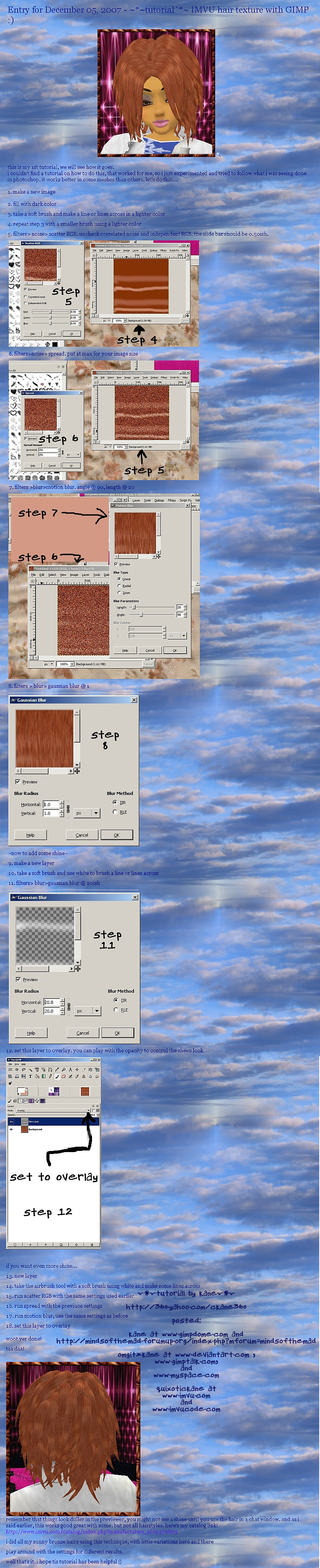 IMVU hair textures with GIMP