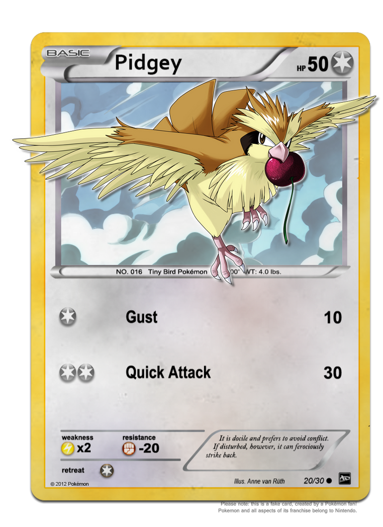 30DoD: Pidgey Trading Card by Chibi-Nuffie on DeviantArt