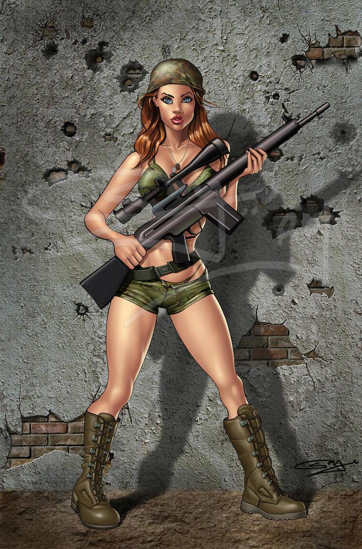 Military girl drawing