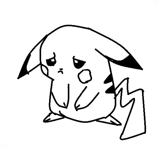 sad pikachu outline by XXflamestormXX on DeviantArt