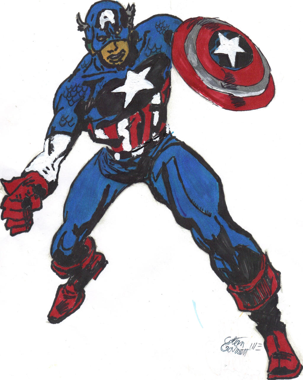 Captain America action pose colored by ctgarrett92 on ...