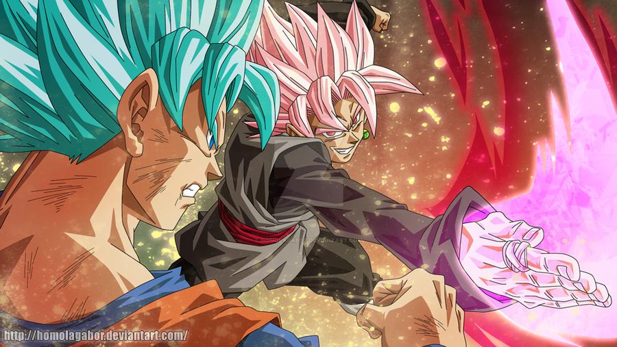 DragonBall Super - BlackGokuSSJRose vs GokuSSJBlue by HomolaGabor