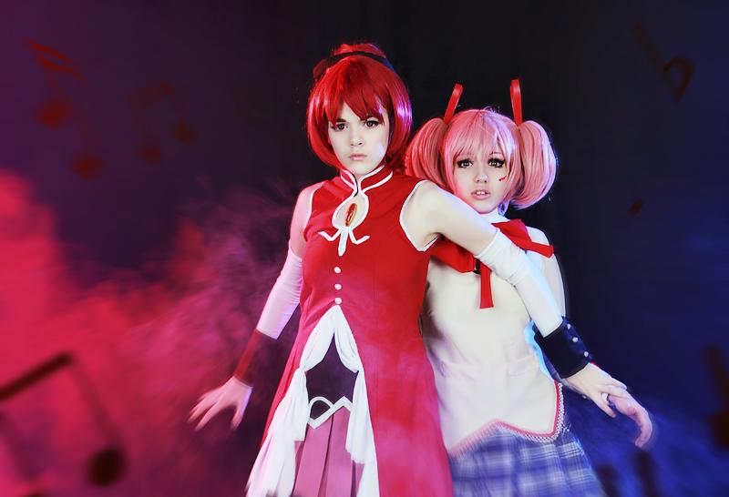 Madoka Kaname and Pocky Kyoko by YuuGray