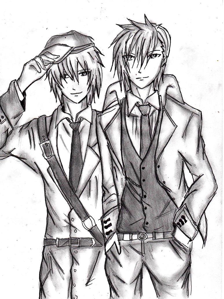 oc aka kitsune and ao okami by akakitsune00