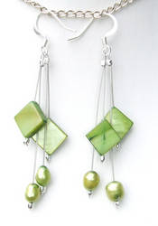 Olive MOP and pearl earrings by inchworm