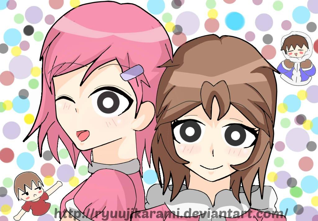 Pink villager and Pink climber by RyuujiKarami