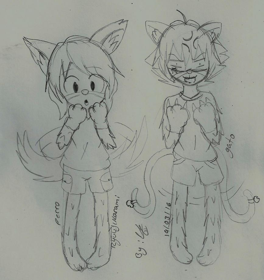 Akira Y Karami (cat and dog) by RyuujiKarami