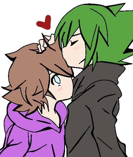 Sora y Akira kiss by RyuujiKarami