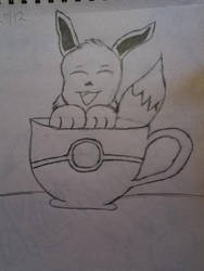Eevee in a cup by TheOddOne3