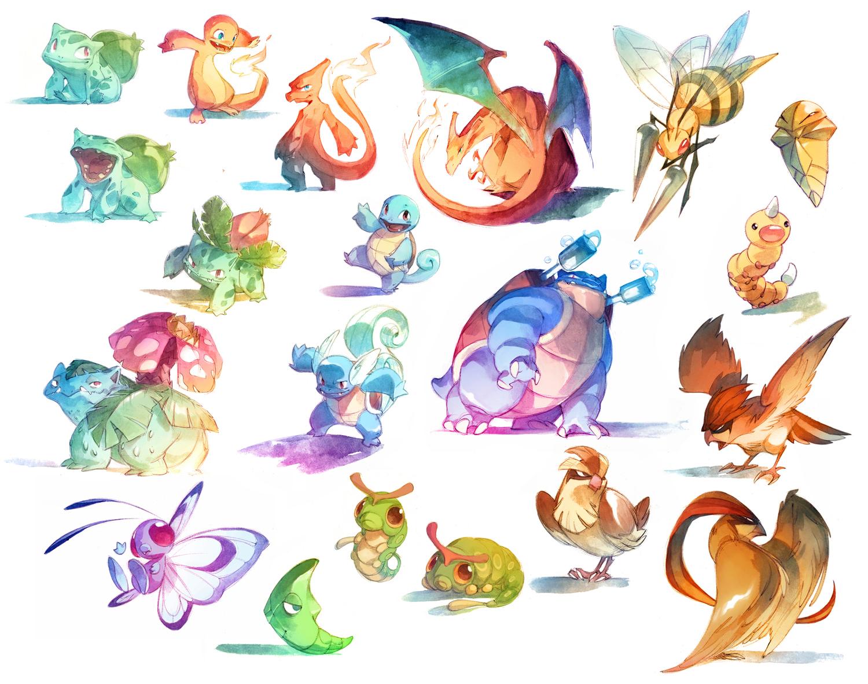 Watercolor Pokemon! 001-018 by nicholaskole