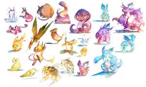 Watercolor Pokemon! 019-034
