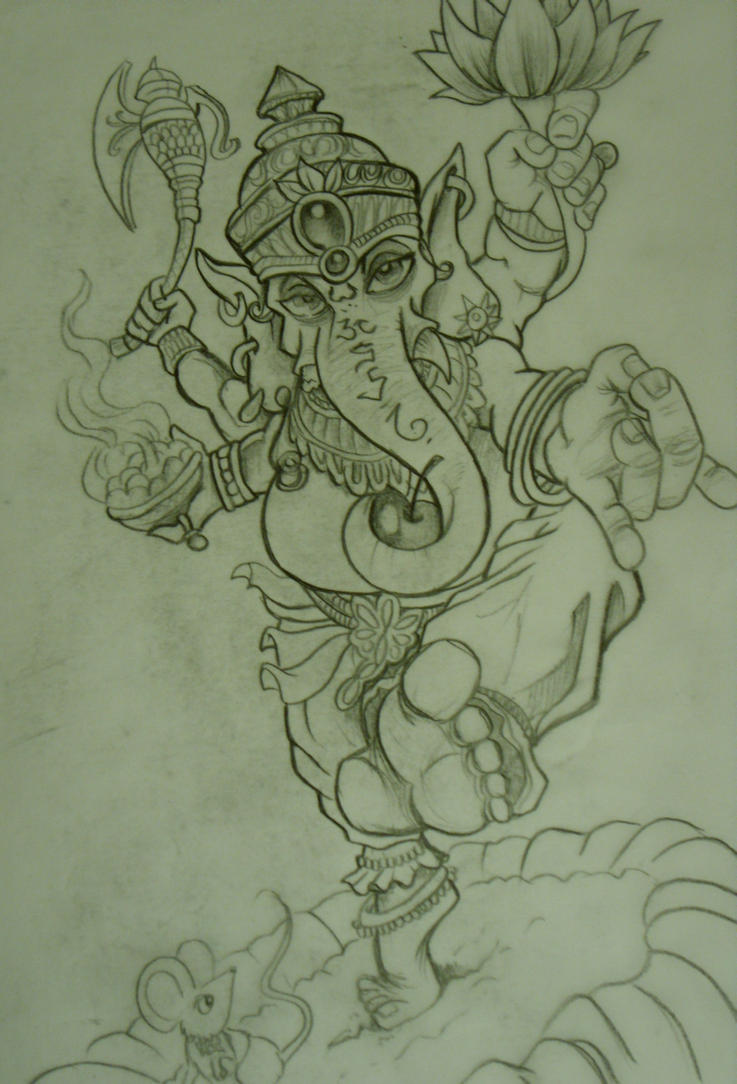 ganesh tattoo sketch by chrisxart on deviantart. Black Bedroom Furniture Sets. Home Design Ideas