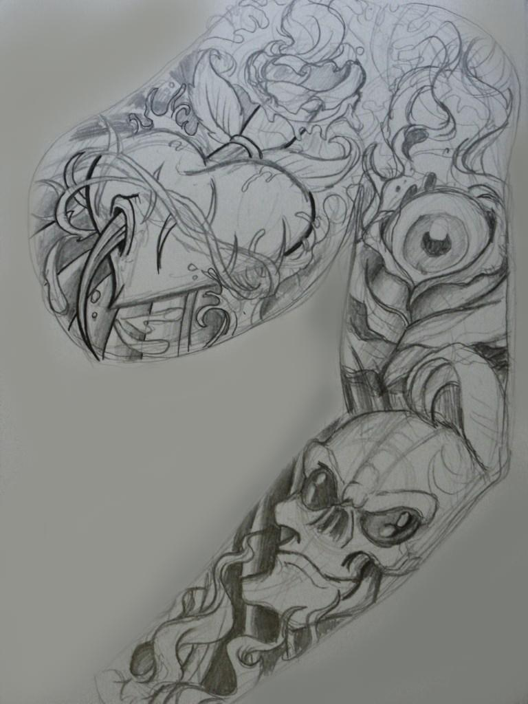 roughs for tattoo sleeve panel by chrisxart on deviantart. Black Bedroom Furniture Sets. Home Design Ideas