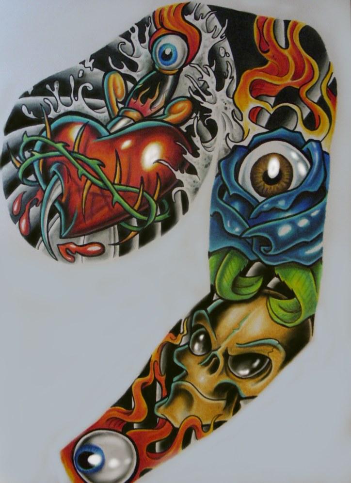 Random Tattoo Sleeve: Tattoo Sleeve Better Pic By Chrisxart On DeviantArt
