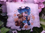 Oszake chan and Mochi cross stitch by Damera6