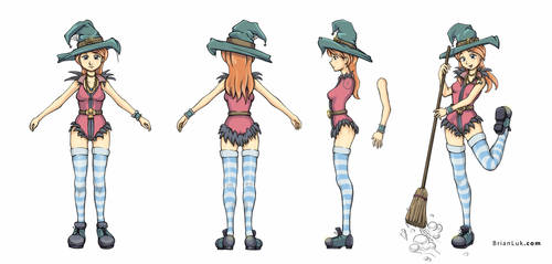 Colored Witch Model sheet by BrianLukArt