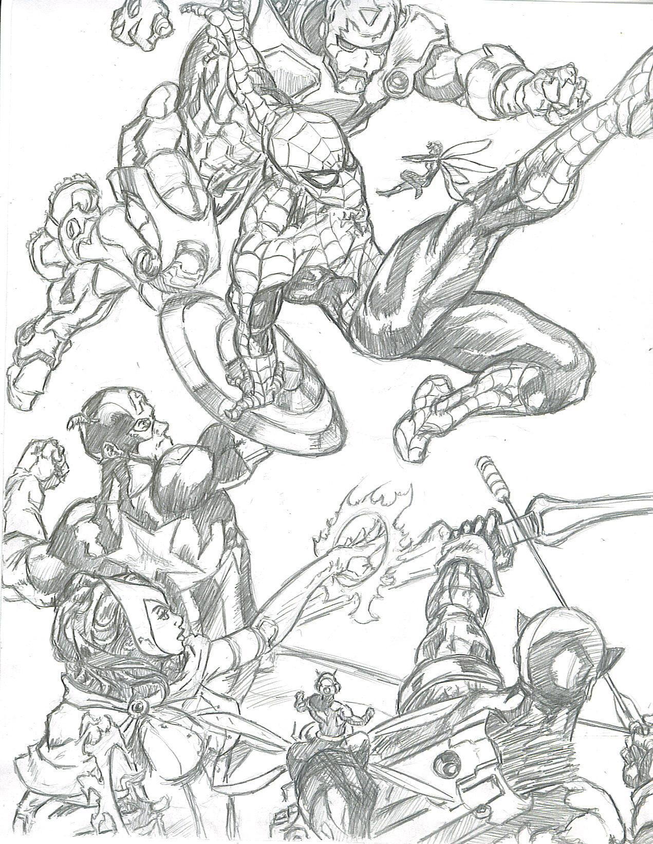 Deviantart coloring clubs - Marvel Comics Club 9 0 Spidey Vs Avengers By Kevman87