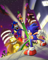 Showdown on Stardust Speedway Metal Sonic Appears by AzureBladeXIII