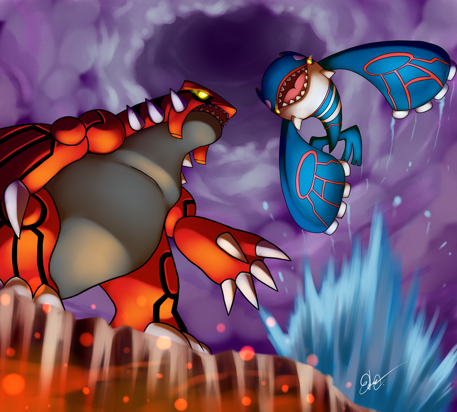 Groudon vs kyogre by azurebladexiii on deviantart - Pictures of groudon and kyogre ...