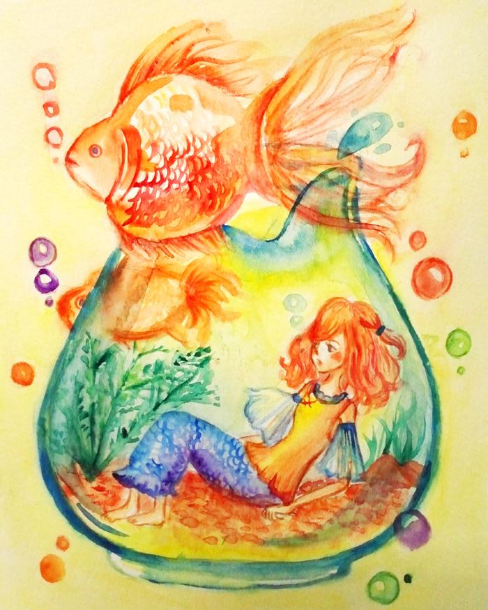 Goldfish x girl by Shubook