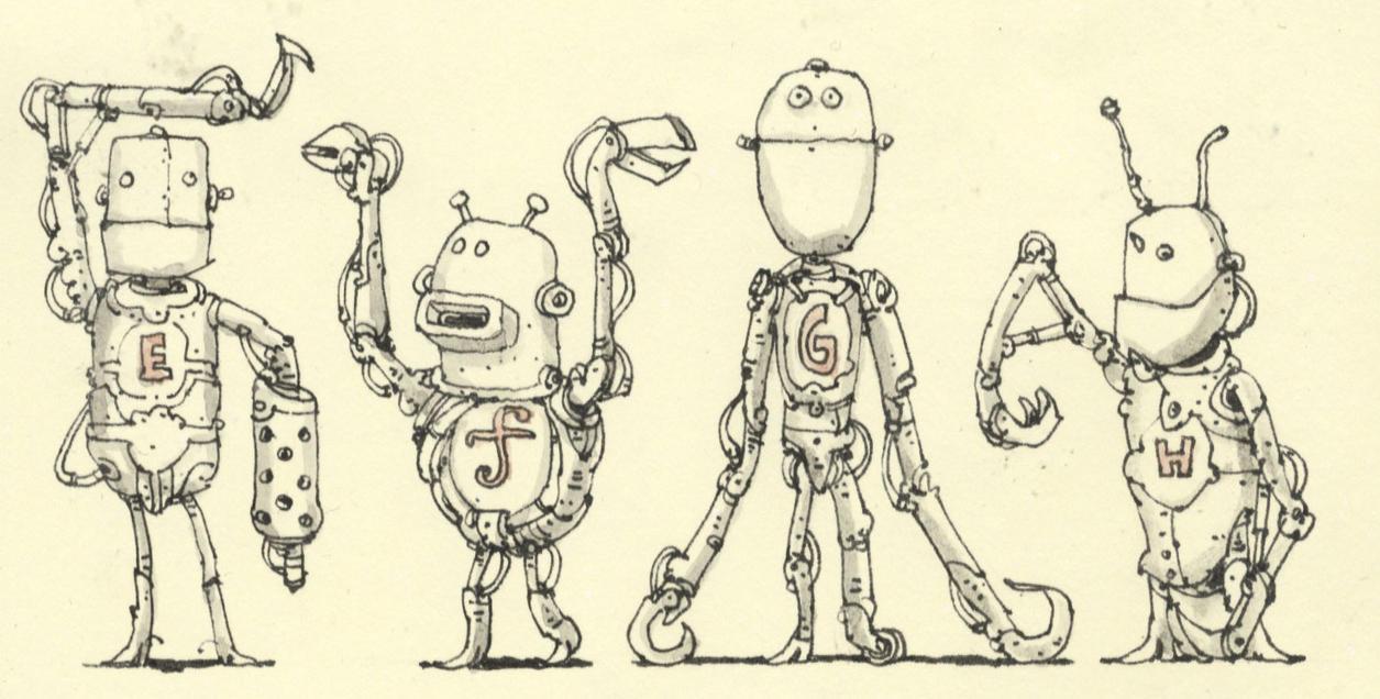 Robot alphabetics E to H by MattiasA