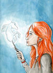 Ginny and her patronus by Ellisis