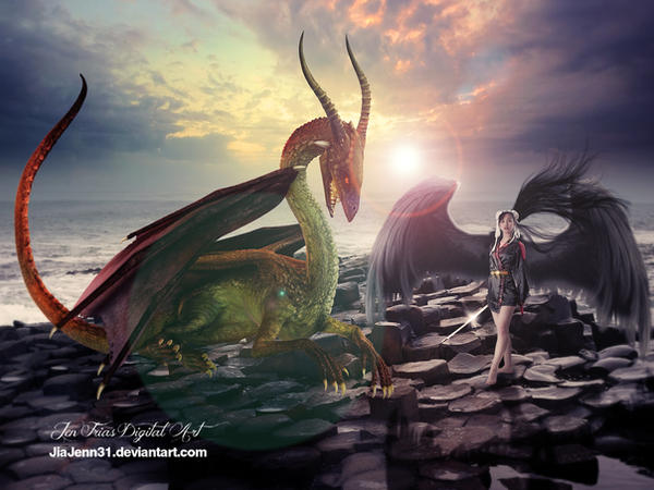 Black angel and dragon by JiaJenn31