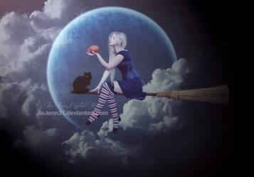 Witch flying by jiajenn