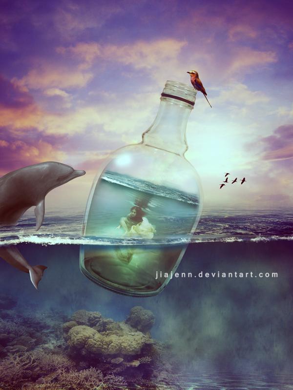 Trapped mermaid by jiajenn