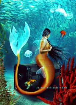 Underwater Gold Mermaid