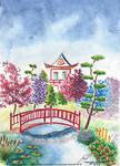 Aquarelle d'un Jardin Japonais
