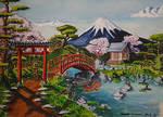 Jardin japonais ( Gouache-Aquarelle )