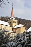 Le clocher de Romainmtier sous la Neige by LePtitSuisse1912