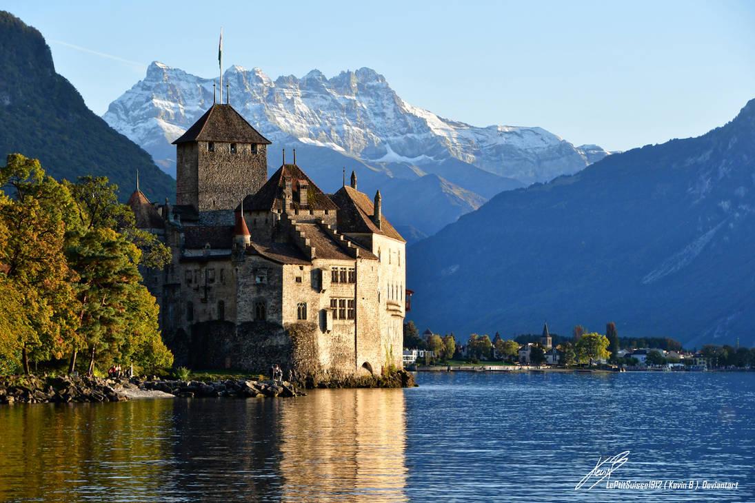 Chateau de Chillon avec les Dents du Midi by LePtitSuisse1912