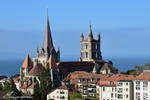 Cathedrale de Lausanne avec le Lac Leman by LePtitSuisse1912