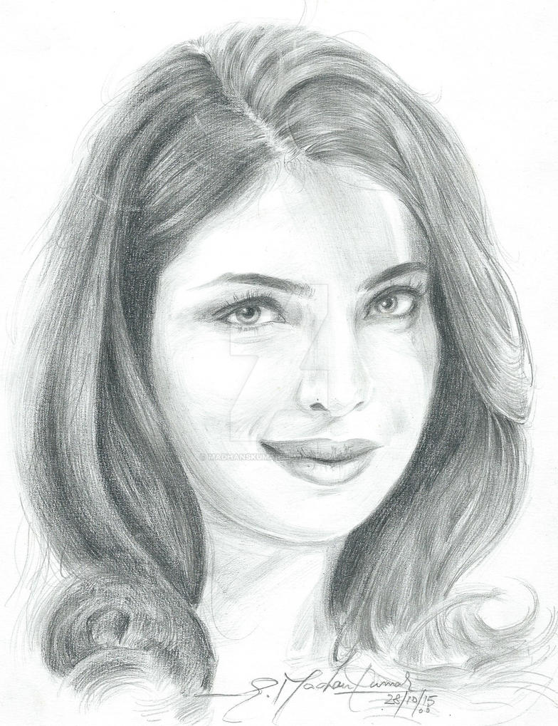 Pencil Portrait of Priyanka Chopra by madhanskumar on ...